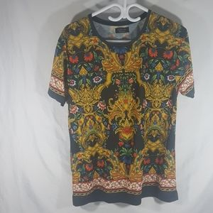 Multi Color Floral Tapestry Print Shirt Large